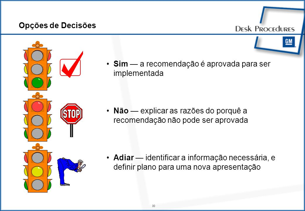 30 Sim a recomendação é aprovada para ser implementada Não explicar as razões do porquê a recomendação não pode ser aprovada Adiar identificar a informação necessária, e definir plano para uma nova apresentação Opções de Decisões