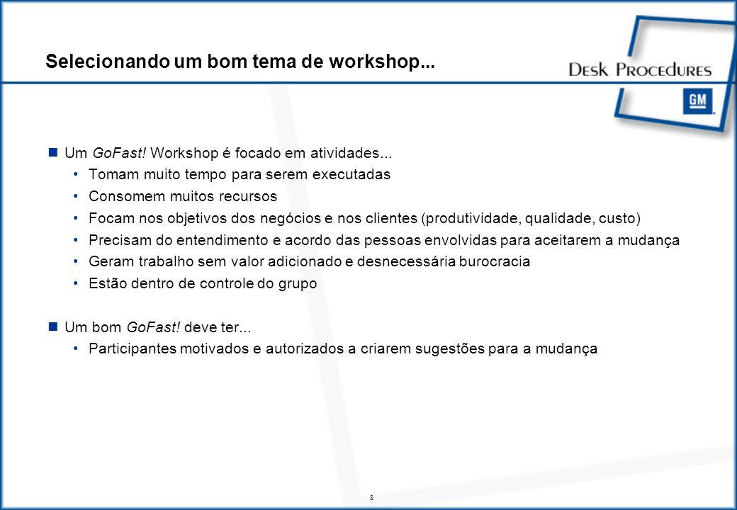 8 Um GoFast.Workshop é focado em atividades...