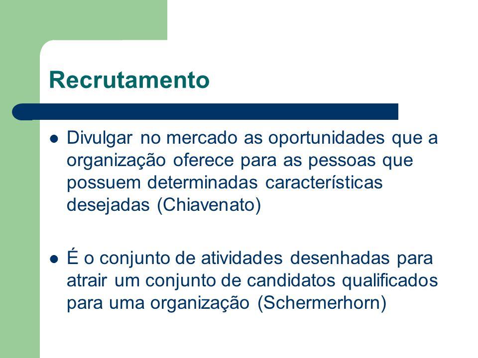 Recrutamento Divulgar no mercado as oportunidades que a organização oferece para as pessoas que possuem determinadas características desejadas (Chiavenato) É o conjunto de atividades desenhadas para atrair um conjunto de candidatos qualificados para uma organização (Schermerhorn)