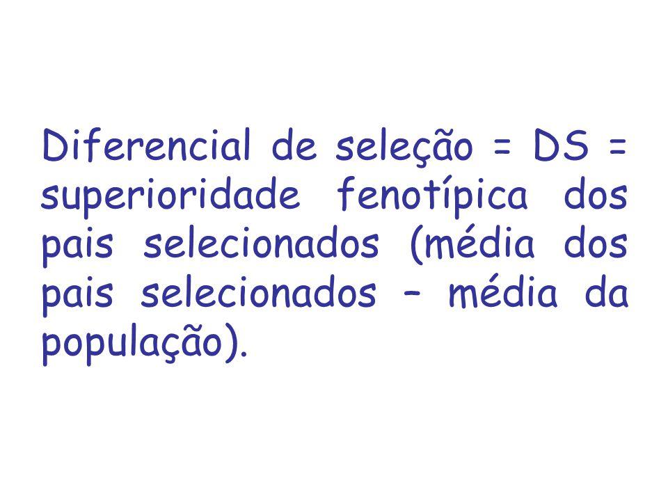 Diferencial de seleção = DS = superioridade fenotípica dos pais selecionados (média dos pais selecionados – média da população).