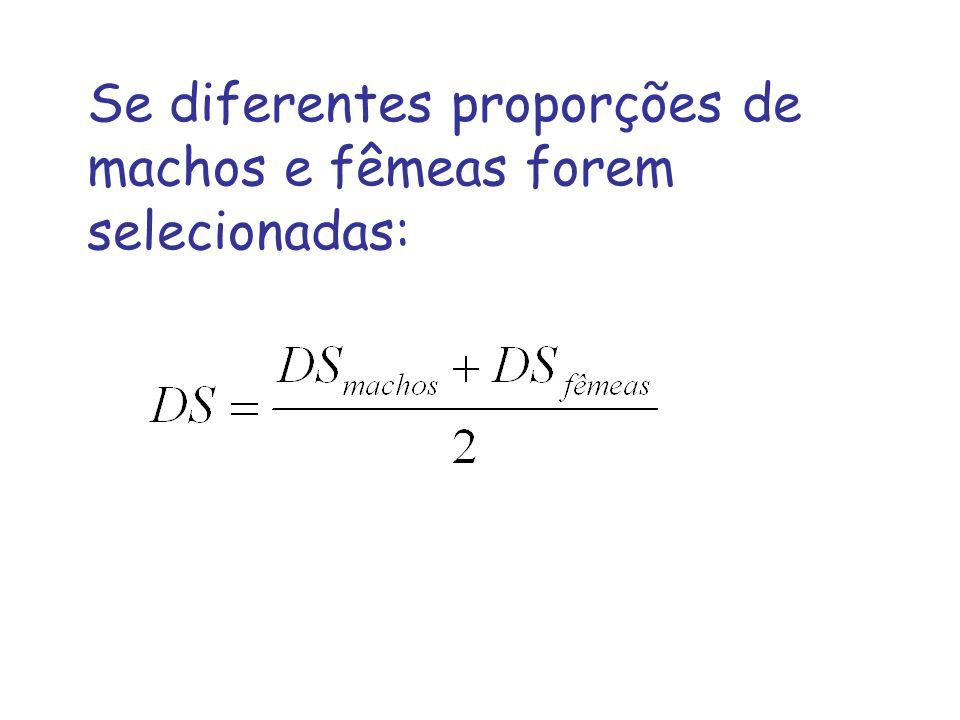 Se diferentes proporções de machos e fêmeas forem selecionadas: