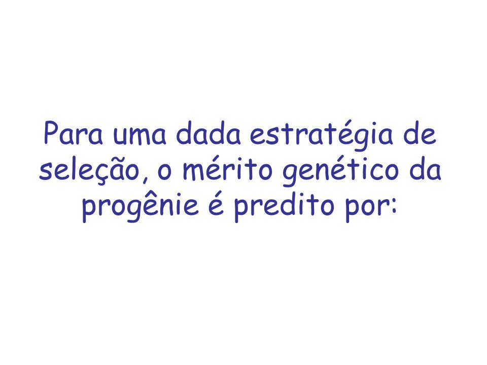 Para uma dada estratégia de seleção, o mérito genético da progênie é predito por: