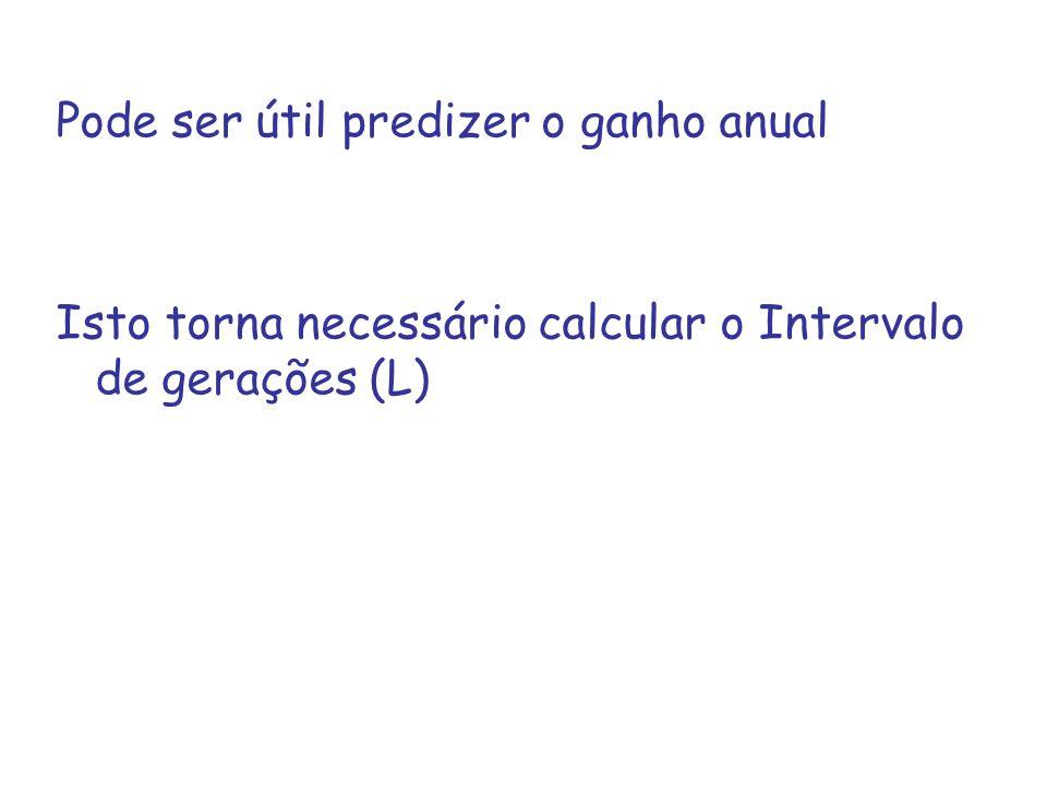 Pode ser útil predizer o ganho anual Isto torna necessário calcular o Intervalo de gerações (L)