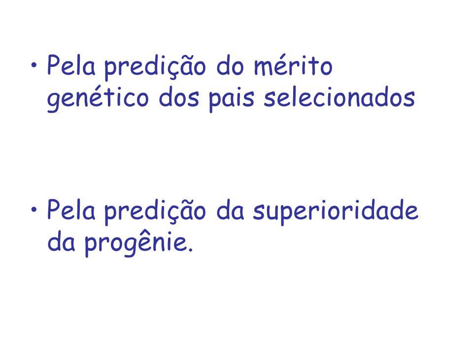 Pela predição do mérito genético dos pais selecionados Pela predição da superioridade da progênie.