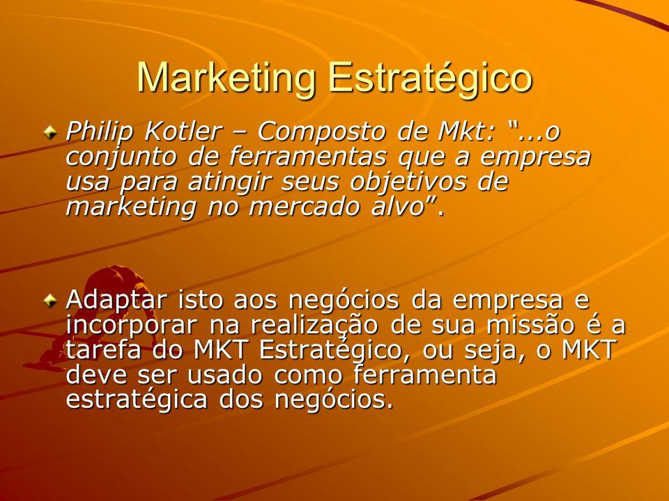 Marketing Estratégico Philip Kotler – Composto de Mkt:...o conjunto de ferramentas que a empresa usa para atingir seus objetivos de marketing no mercado alvo.