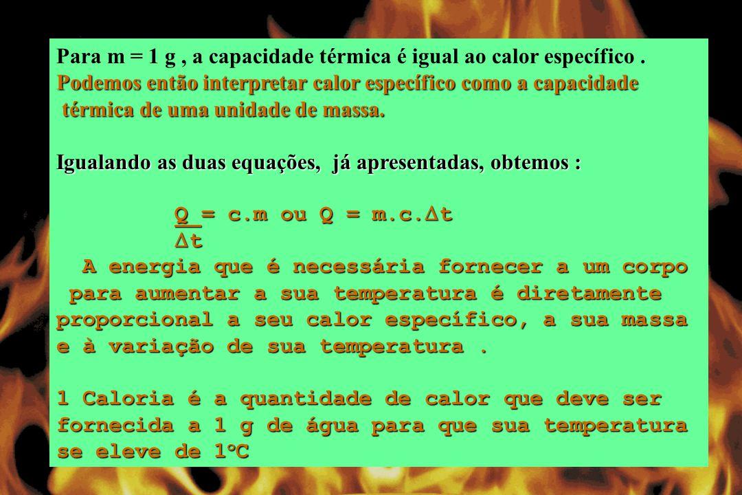 Para m = 1 g, a capacidade térmica é igual ao calor específico.