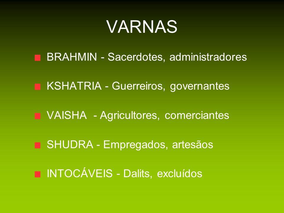 A ORIGEM DAS CASTAS E SISTEMA SOCIAL DA INDIA VARNAS – Cor (qualidade ou energia da natureza humana) CASTAS – Subdivisões de varnas SUB-CASTAS – Subdivisões de Castas ou gotras