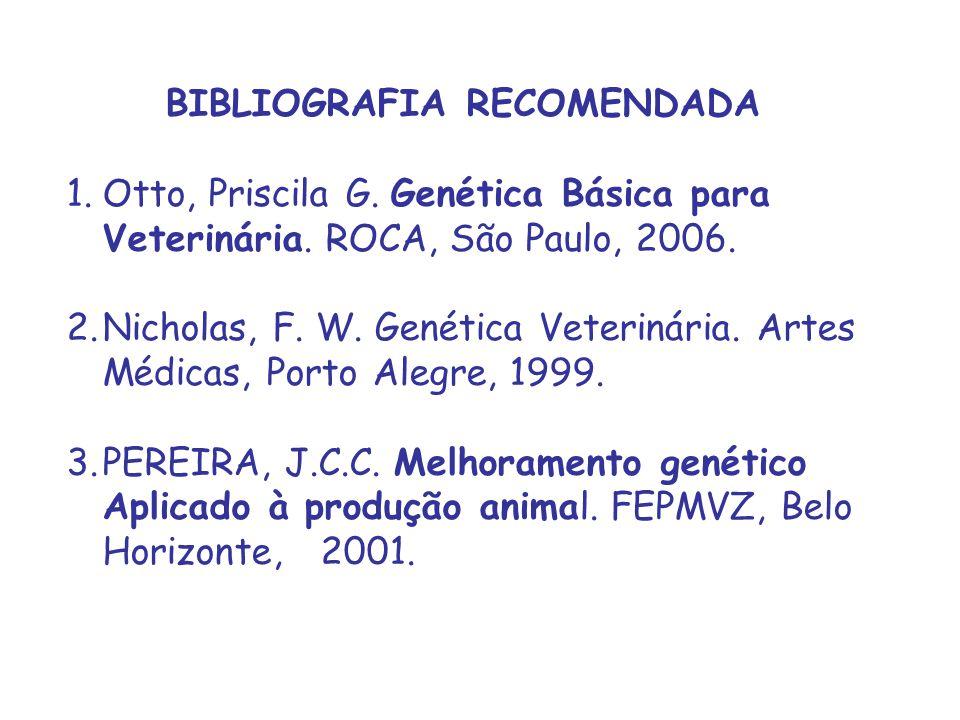 BIBLIOGRAFIA RECOMENDADA 1.Otto, Priscila G. Genética Básica para Veterinária. ROCA, São Paulo, 2006. 2.Nicholas, F. W. Genética Veterinária. Artes Mé