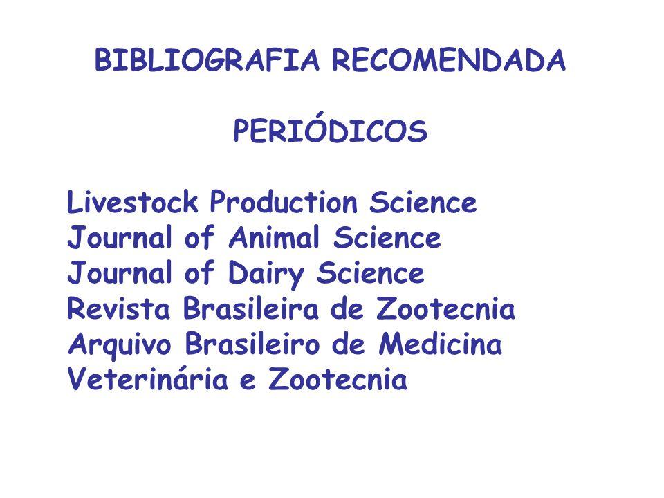 BIBLIOGRAFIA RECOMENDADA PERIÓDICOS Livestock Production Science Journal of Animal Science Journal of Dairy Science Revista Brasileira de Zootecnia Ar