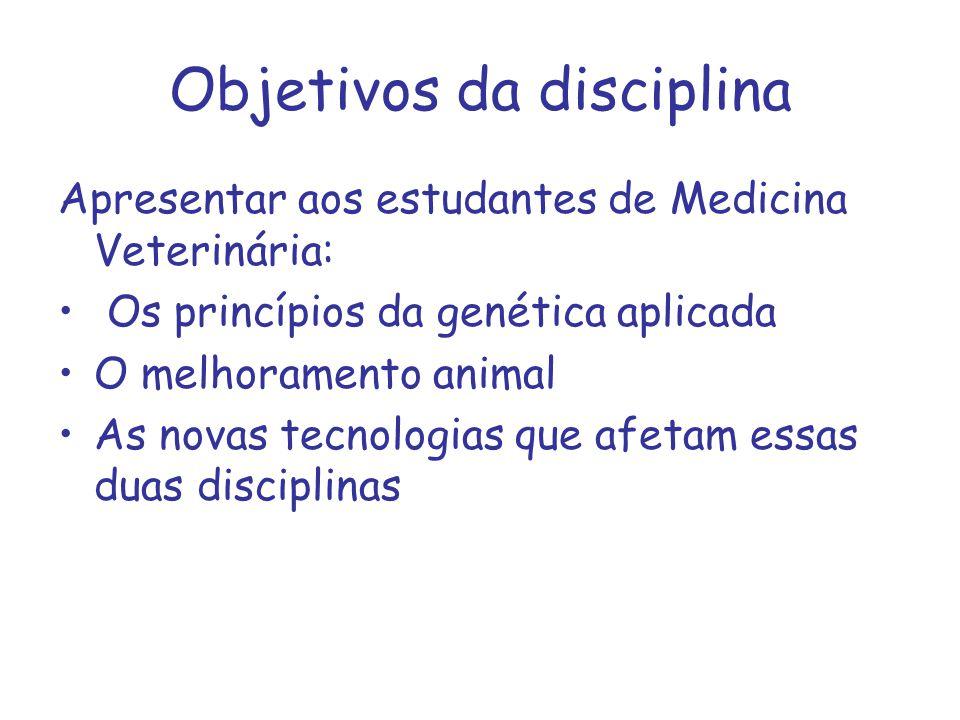 Objetivos da disciplina Apresentar aos estudantes de Medicina Veterinária: Os princípios da genética aplicada O melhoramento animal As novas tecnologi
