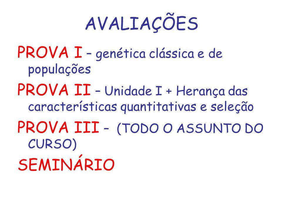 PROVA I – genética clássica e de populações PROVA II – Unidade I + Herança das características quantitativas e seleção PROVA III – (TODO O ASSUNTO DO