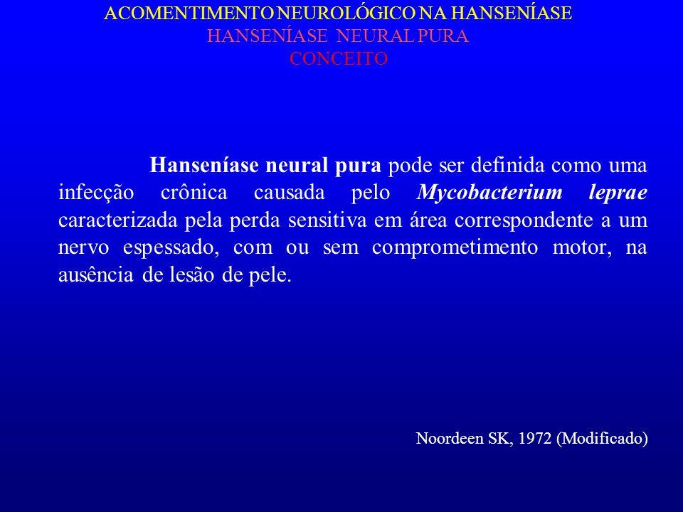 ACOMENTIMENTO NEUROLÓGICO NA HANSENÍASE HANSENÍASE NEURAL PURA CONCEITO Hanseníase neural pura pode ser definida como uma infecção crônica causada pel
