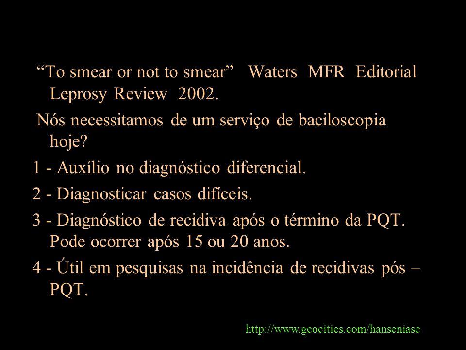 To smear or not to smear Waters MFR Editorial Leprosy Review 2002. Nós necessitamos de um serviço de baciloscopia hoje? 1 - Auxílio no diagnóstico dif