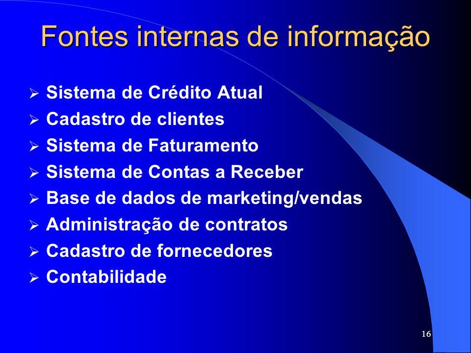16 Fontes internas de informação Sistema de Crédito Atual Cadastro de clientes Sistema de Faturamento Sistema de Contas a Receber Base de dados de marketing/vendas Administração de contratos Cadastro de fornecedores Contabilidade