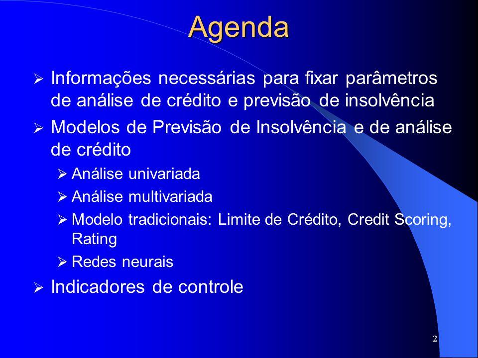 2 Agenda Informações necessárias para fixar parâmetros de análise de crédito e previsão de insolvência Modelos de Previsão de Insolvência e de análise de crédito Análise univariada Análise multivariada Modelo tradicionais: Limite de Crédito, Credit Scoring, Rating Redes neurais Indicadores de controle