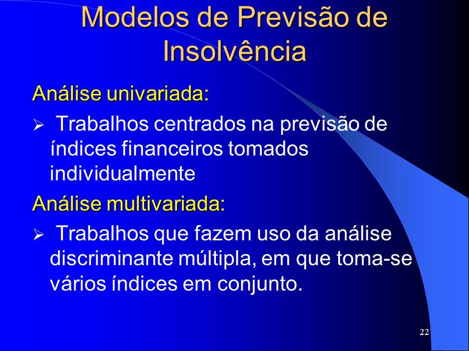22 Modelos de Previsão de Insolvência Análise univariada: Trabalhos centrados na previsão de índices financeiros tomados individualmente Análise multivariada: Trabalhos que fazem uso da análise discriminante múltipla, em que toma-se vários índices em conjunto.