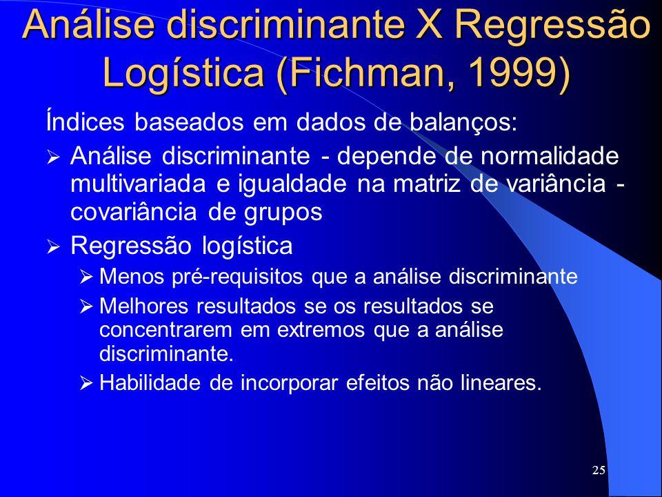 25 Análise discriminante X Regressão Logística (Fichman, 1999) Índices baseados em dados de balanços: Análise discriminante - depende de normalidade multivariada e igualdade na matriz de variância - covariância de grupos Regressão logística Menos pré-requisitos que a análise discriminante Melhores resultados se os resultados se concentrarem em extremos que a análise discriminante.