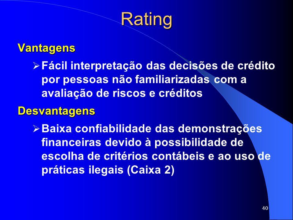 40RatingVantagens Fácil interpretação das decisões de crédito por pessoas não familiarizadas com a avaliação de riscos e créditosDesvantagens Baixa confiabilidade das demonstrações financeiras devido à possibilidade de escolha de critérios contábeis e ao uso de práticas ilegais (Caixa 2)