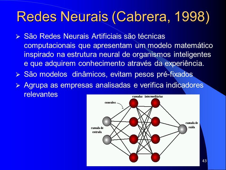 43 Redes Neurais (Cabrera, 1998) São Redes Neurais Artificiais são técnicas computacionais que apresentam um modelo matemático inspirado na estrutura neural de organismos inteligentes e que adquirem conhecimento através da experiência.