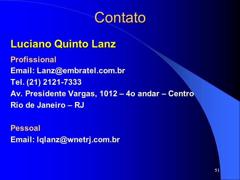 51 Contato Luciano Quinto Lanz Profissional Email: Lanz@embratel.com.br Tel.