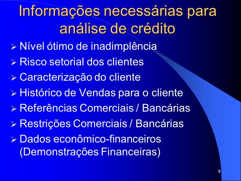 8 Informações necessárias para análise de crédito Nível ótimo de inadimplência Risco setorial dos clientes Caracterização do cliente Histórico de Vendas para o cliente Referências Comerciais / Bancárias Restrições Comerciais / Bancárias Dados econômico-financeiros (Demonstrações Financeiras)