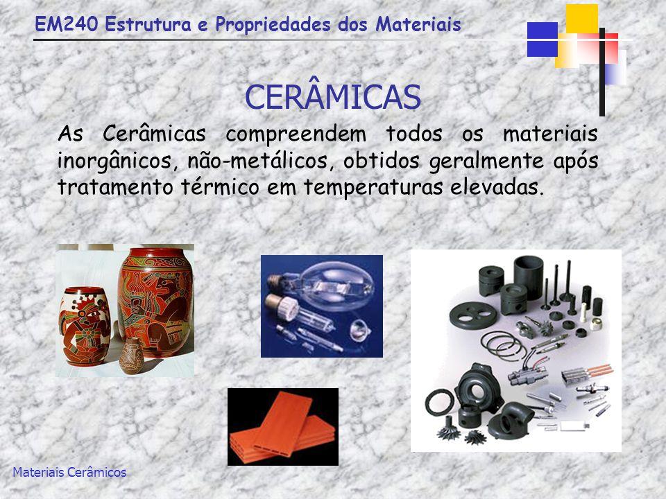 EM240 Estrutura e Propriedades dos Materiais Materiais Cerâmicos DEFINIÇÃO Cerâmica vem da palavra grega keramus que significa coisa queimada Numa definição simplificada, materiais cerâmicos são compostos de elementos metálicos e não metálicos, com exceção do carbono.