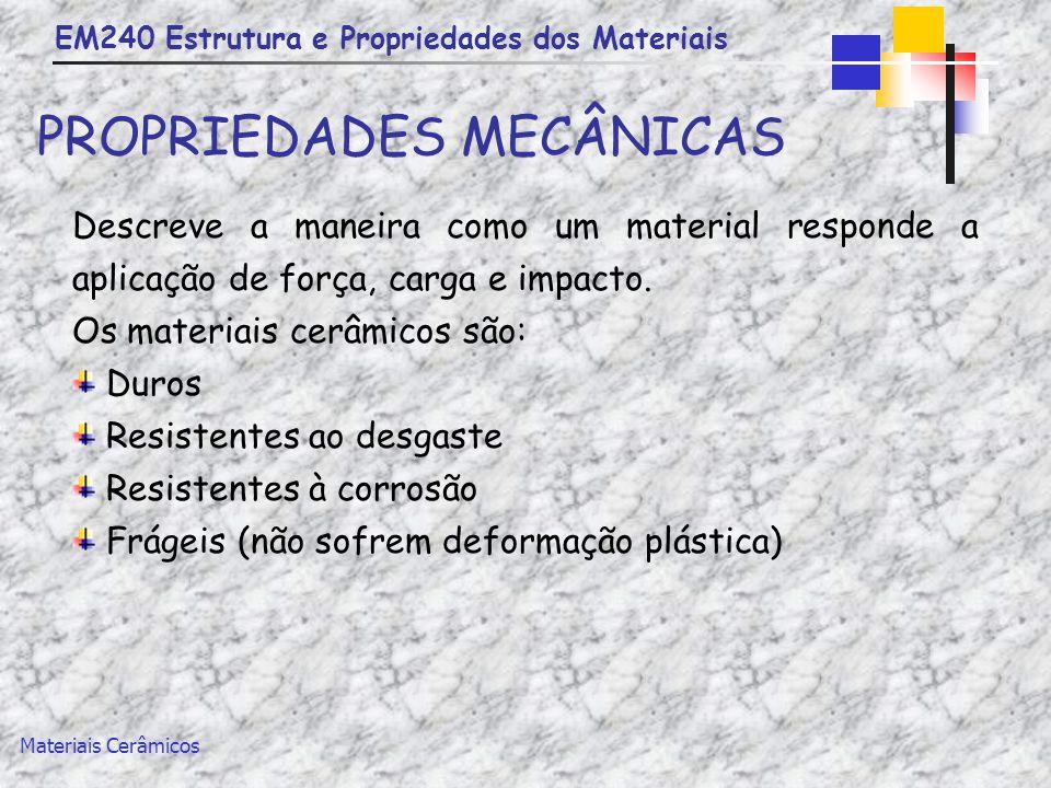 EM240 Estrutura e Propriedades dos Materiais Materiais Cerâmicos PROPRIEDADES MECÂNICAS Descreve a maneira como um material responde a aplicação de fo