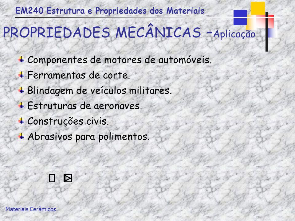 EM240 Estrutura e Propriedades dos Materiais Materiais Cerâmicos PROPRIEDADES MECÂNICAS – Aplicação Componentes de motores de automóveis. Ferramentas