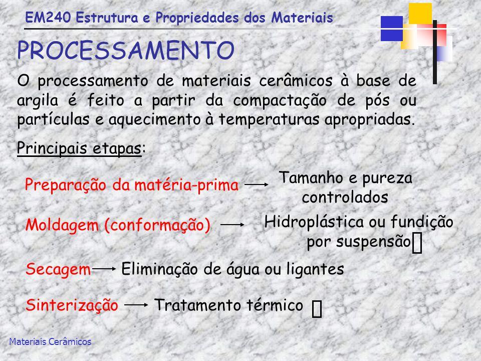 EM240 Estrutura e Propriedades dos Materiais Materiais Cerâmicos PROCESSAMENTO O processamento de materiais cerâmicos à base de argila é feito a parti
