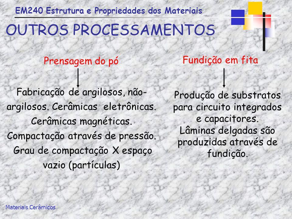 EM240 Estrutura e Propriedades dos Materiais Materiais Cerâmicos OUTROS PROCESSAMENTOS Prensagem do pó Fabricação de argilosos, não- argilosos. Cerâmi