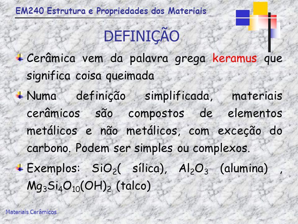 EM240 Estrutura e Propriedades dos Materiais Materiais Cerâmicos DEFINIÇÃO Cerâmica vem da palavra grega keramus que significa coisa queimada Numa def