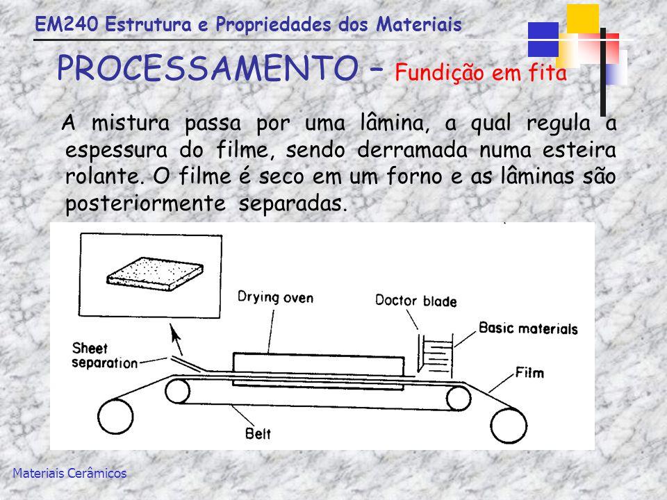 EM240 Estrutura e Propriedades dos Materiais Materiais Cerâmicos PROCESSAMENTO – Fundição em fita A mistura passa por uma lâmina, a qual regula a espe