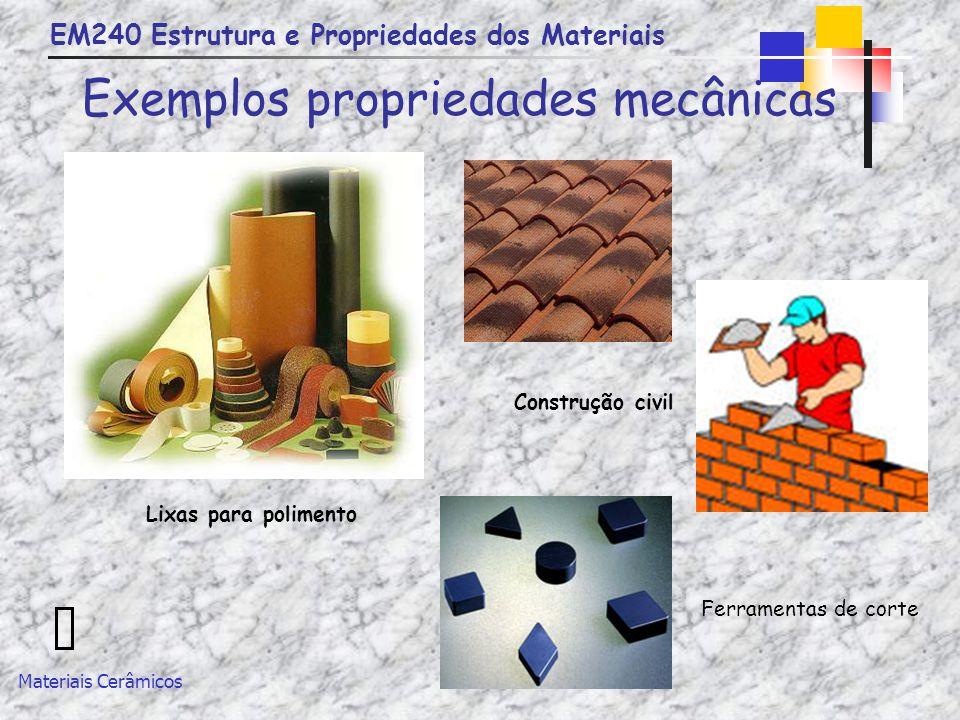 EM240 Estrutura e Propriedades dos Materiais Materiais Cerâmicos Exemplos propriedades mecânicas Lixas para polimento Construção civil Ferramentas de
