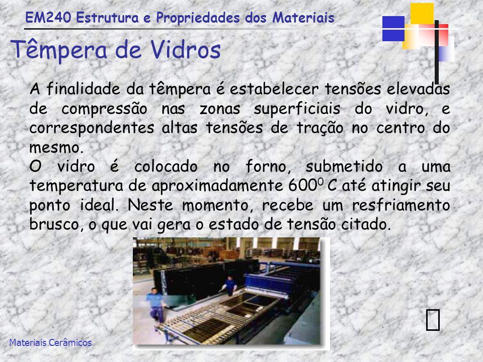 EM240 Estrutura e Propriedades dos Materiais Materiais Cerâmicos Têmpera de Vidros A finalidade da têmpera é estabelecer tensões elevadas de compressã