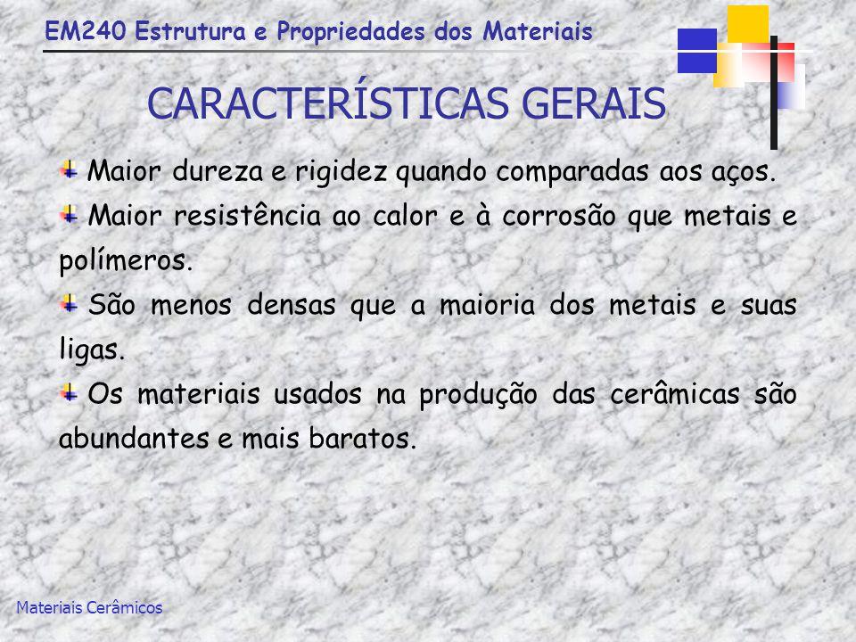 EM240 Estrutura e Propriedades dos Materiais Materiais Cerâmicos CARACTERÍSTICAS GERAIS Maior dureza e rigidez quando comparadas aos aços. Maior resis
