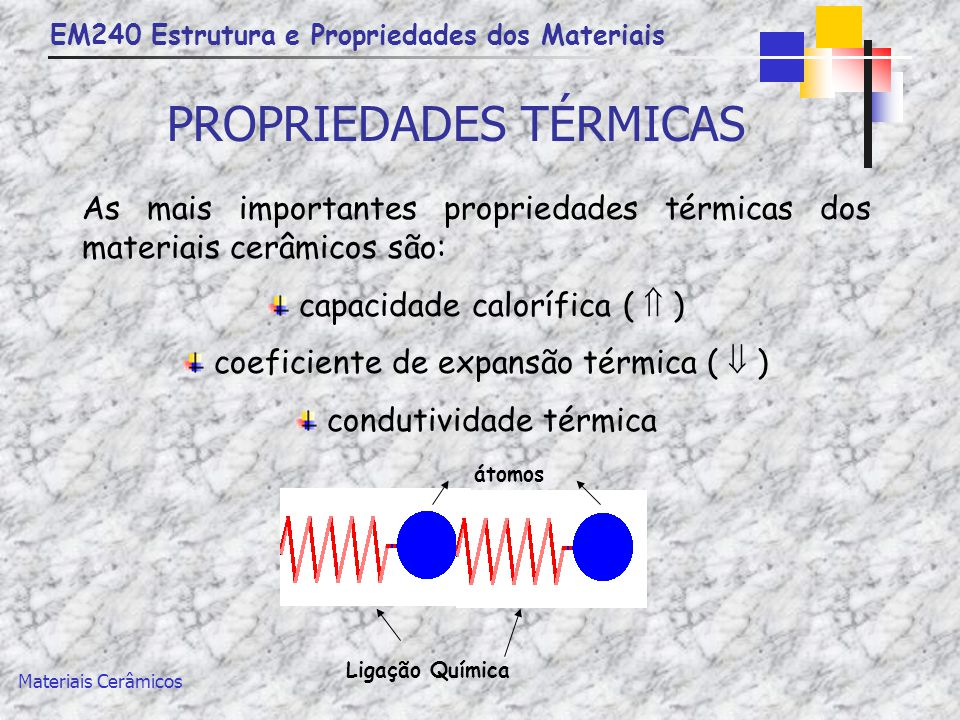 EM240 Estrutura e Propriedades dos Materiais Materiais Cerâmicos PROPRIEDADES TÉRMICAS MaterialCapacidade calorífica (J/Kg.K) Coeficiente linear de expansão térmica ((°C) -1 x10 -6 ) Condutividade térmica (W/m.K) Alumínio90023,6247 Cobre38616,5398 Alumina (Al 2 O 3 )7758,830,1 Sílica fundida (SiO 2 )7400,52,0 Vidro de cal de soda8409,01,7 Polietileno210060-2200,38 Poliestireno136050-850,13