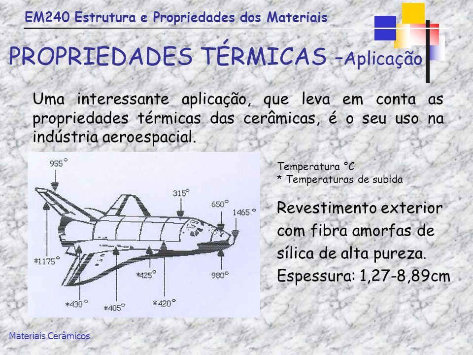 EM240 Estrutura e Propriedades dos Materiais Materiais Cerâmicos PROPRIEDADES TÉRMICAS - Aplicação Uma interessante aplicação, que leva em conta as pr