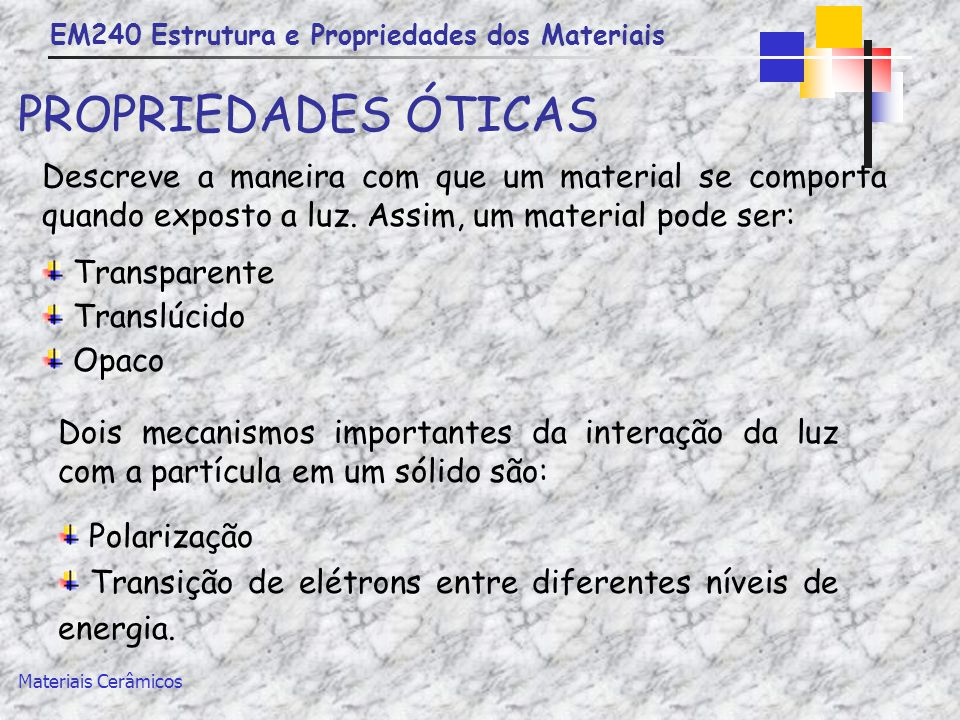 EM240 Estrutura e Propriedades dos Materiais Materiais Cerâmicos PROPRIEDADES ÓTICAS Descreve a maneira com que um material se comporta quando exposto