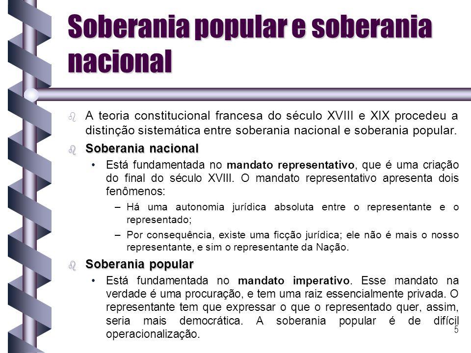 6 Mecanismos de participação direta para o exercício da soberania b b A teoria constitucional contemporânea busca uma saída para o impasse entre uma e outra forma de soberania.