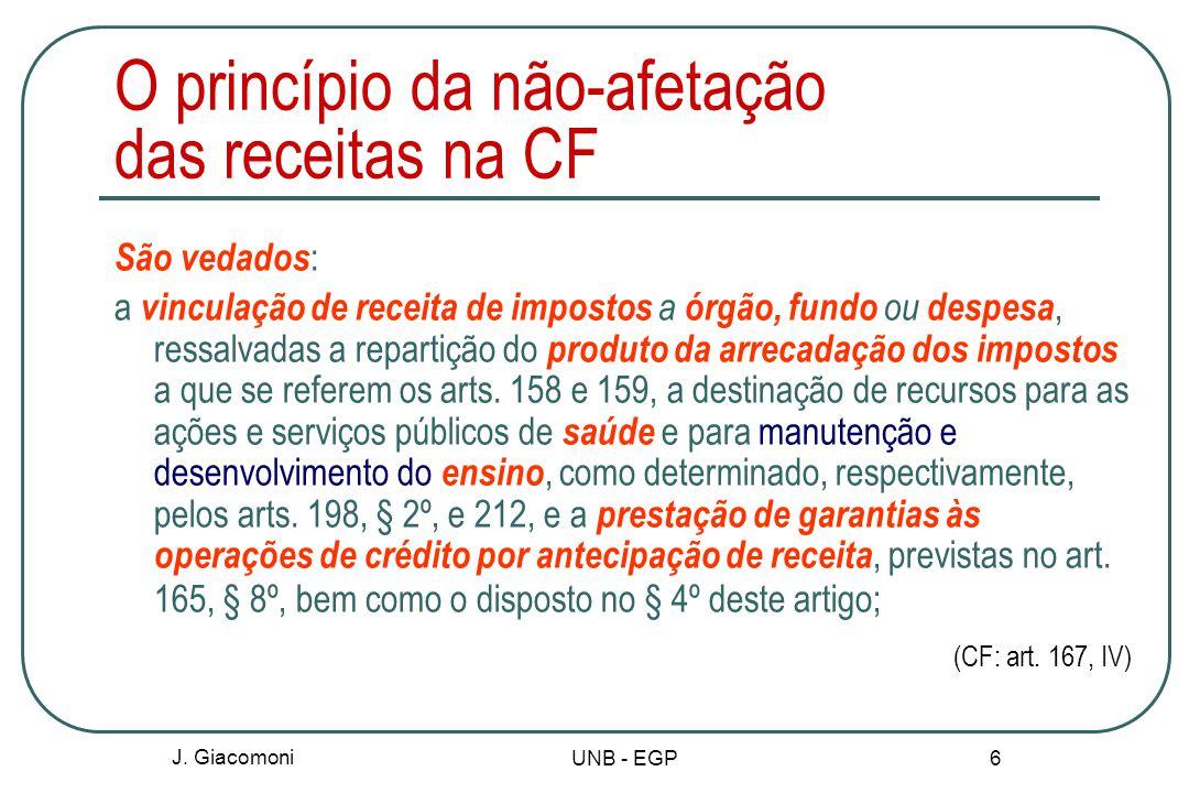 O princípio da não-afetação das receitas na CF São vedados : a vinculação de receita de impostos a órgão, fundo ou despesa, ressalvadas a repartição do produto da arrecadação dos impostos a que se referem os arts.