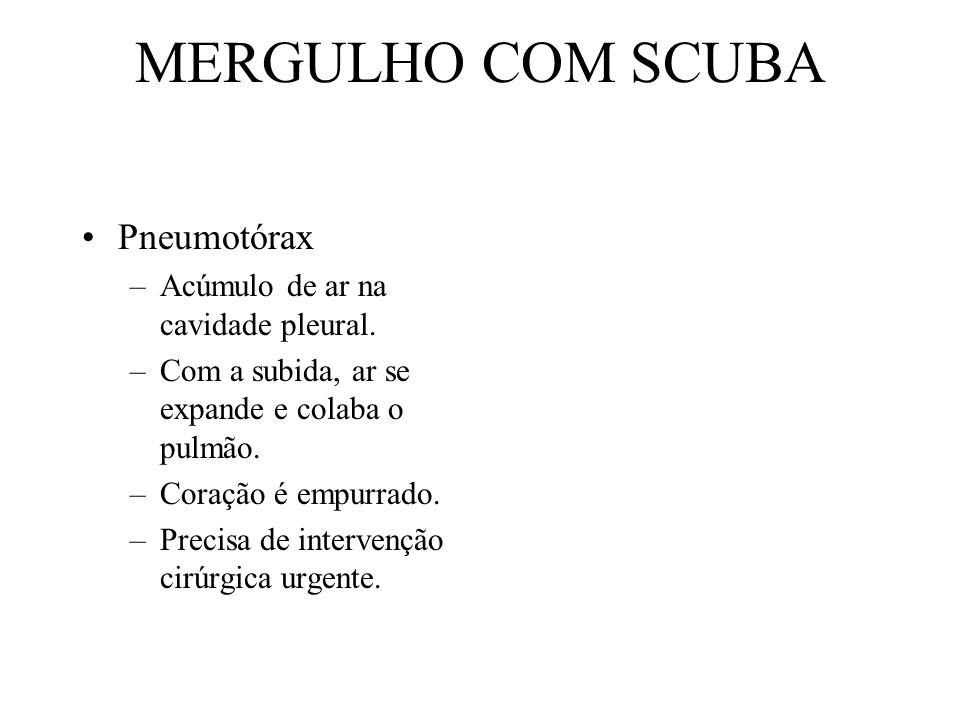 MERGULHO COM SCUBA Pneumotórax –Acúmulo de ar na cavidade pleural. –Com a subida, ar se expande e colaba o pulmão. –Coração é empurrado. –Precisa de i