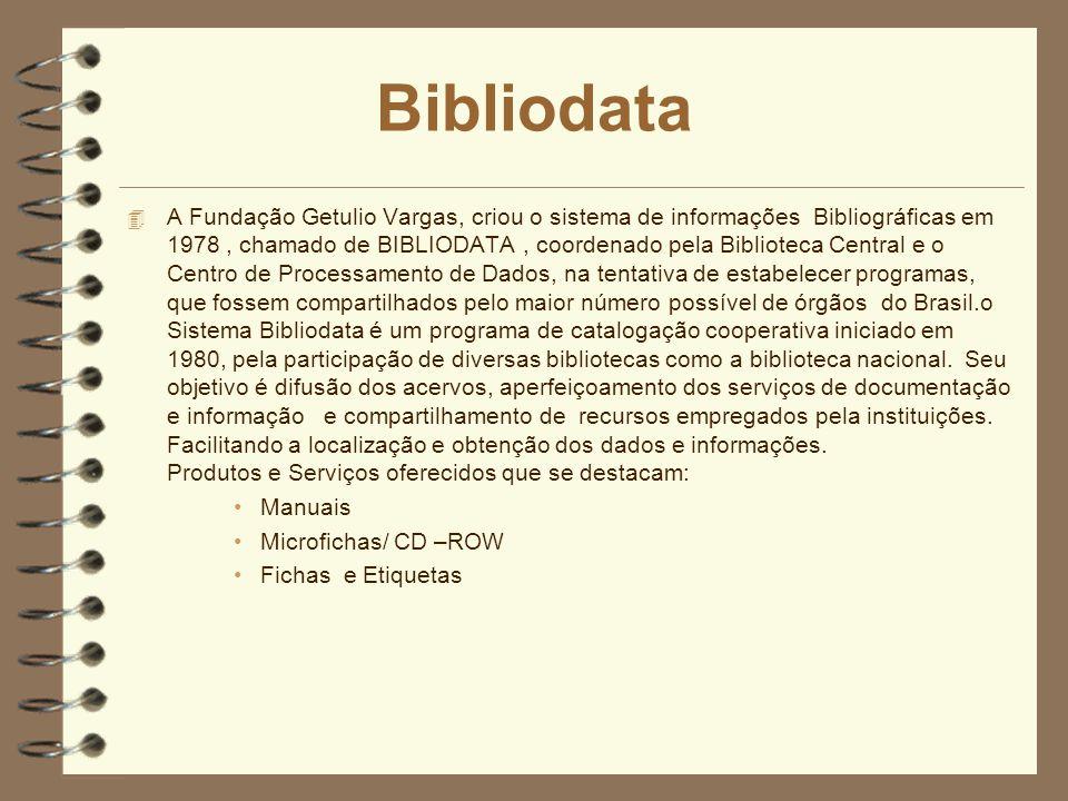 Bibliodata 4 A Fundação Getulio Vargas, criou o sistema de informações Bibliográficas em 1978, chamado de BIBLIODATA, coordenado pela Biblioteca Centr