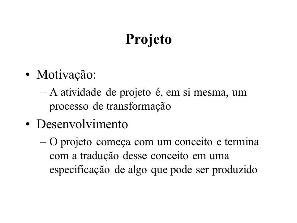 Projeto Motivação: –A atividade de projeto é, em si mesma, um processo de transformação Desenvolvimento –O projeto começa com um conceito e termina co