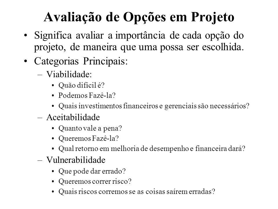 Avaliação de Opções em Projeto Significa avaliar a importância de cada opção do projeto, de maneira que uma possa ser escolhida. Categorias Principais