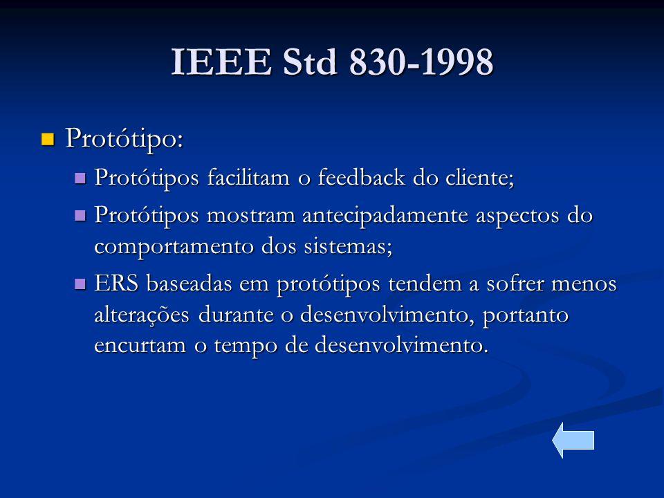 IEEE Std 830-1998 Protótipo: Protótipo: Protótipos facilitam o feedback do cliente; Protótipos facilitam o feedback do cliente; Protótipos mostram antecipadamente aspectos do comportamento dos sistemas; Protótipos mostram antecipadamente aspectos do comportamento dos sistemas; ERS baseadas em protótipos tendem a sofrer menos alterações durante o desenvolvimento, portanto encurtam o tempo de desenvolvimento.