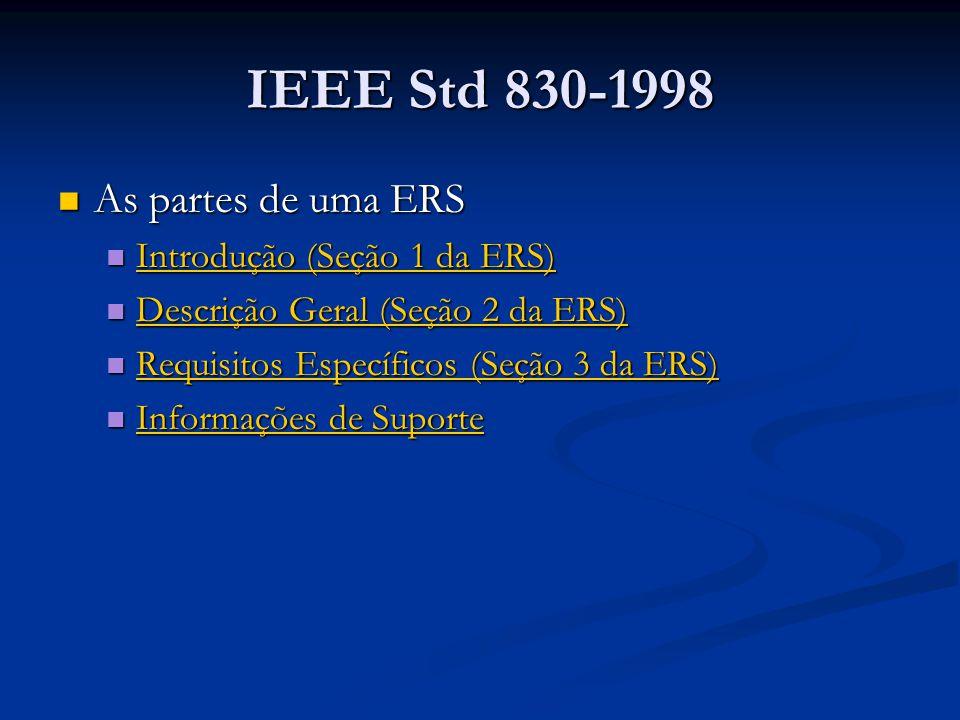 IEEE Std 830-1998 As partes de uma ERS As partes de uma ERS Introdução (Seção 1 da ERS) Introdução (Seção 1 da ERS) Introdução (Seção 1 da ERS) Introdução (Seção 1 da ERS) Descrição Geral (Seção 2 da ERS) Descrição Geral (Seção 2 da ERS) Descrição Geral (Seção 2 da ERS) Descrição Geral (Seção 2 da ERS) Requisitos Específicos (Seção 3 da ERS) Requisitos Específicos (Seção 3 da ERS) Requisitos Específicos (Seção 3 da ERS) Requisitos Específicos (Seção 3 da ERS) Informações de Suporte Informações de Suporte Informações de Suporte Informações de Suporte