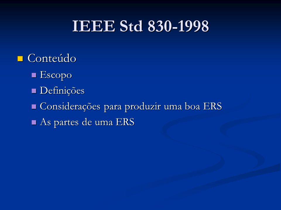 IEEE Std 830-1998 Conteúdo Conteúdo Escopo Escopo Definições Definições Considerações para produzir uma boa ERS Considerações para produzir uma boa ERS As partes de uma ERS As partes de uma ERS