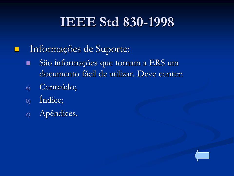 IEEE Std 830-1998 Informações de Suporte: Informações de Suporte: São informações que tornam a ERS um documento fácil de utilizar.
