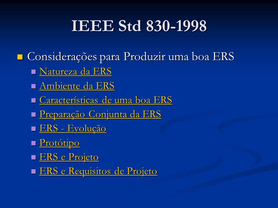 IEEE Std 830-1998 Considerações para Produzir uma boa ERS Considerações para Produzir uma boa ERS Natureza da ERS Natureza da ERS Natureza da ERS Natureza da ERS Ambiente da ERS Ambiente da ERS Ambiente da ERS Ambiente da ERS Características de uma boa ERS Características de uma boa ERS Características de uma boa ERS Características de uma boa ERS Preparação Conjunta da ERS Preparação Conjunta da ERS Preparação Conjunta da ERS Preparação Conjunta da ERS ERS - Evolução ERS - Evolução ERS - Evolução ERS - Evolução Protótipo Protótipo Protótipo ERS e Projeto ERS e Projeto ERS e Projeto ERS e Projeto ERS e Requisitos de Projeto ERS e Requisitos de Projeto ERS e Requisitos de Projeto ERS e Requisitos de Projeto