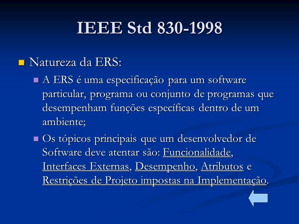 IEEE Std 830-1998 Natureza da ERS: Natureza da ERS: A ERS é uma especificação para um software particular, programa ou conjunto de programas que desempenham funções específicas dentro de um ambiente; A ERS é uma especificação para um software particular, programa ou conjunto de programas que desempenham funções específicas dentro de um ambiente; Os tópicos principais que um desenvolvedor de Software deve atentar são: Funcionalidade, Interfaces Externas, Desempenho, Atributos e Restrições de Projeto impostas na Implementação.